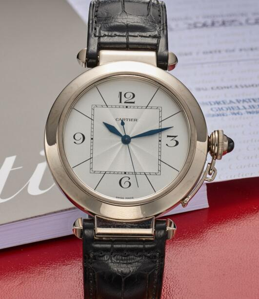 The Arabic numerals hour markers are striking on the silver dial.