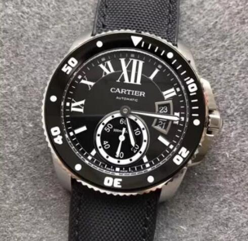 The white hands and hour markers are striking on the black dial.
