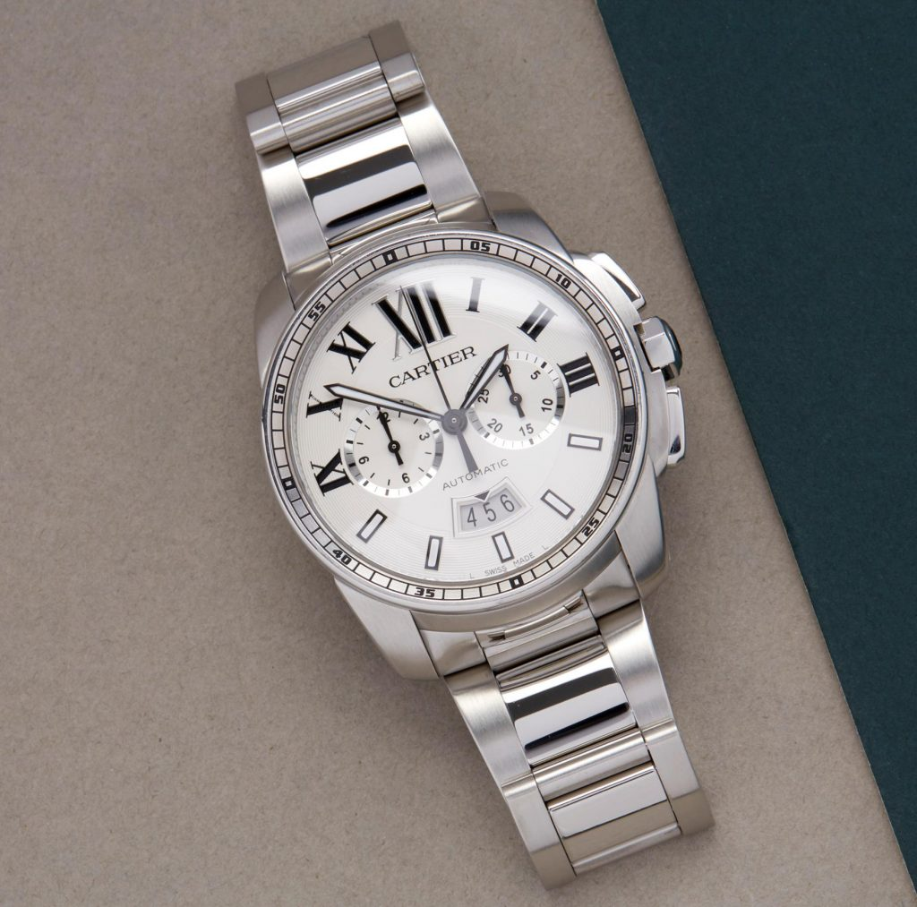 The 42mm fake watch is made from polished stainless steel.